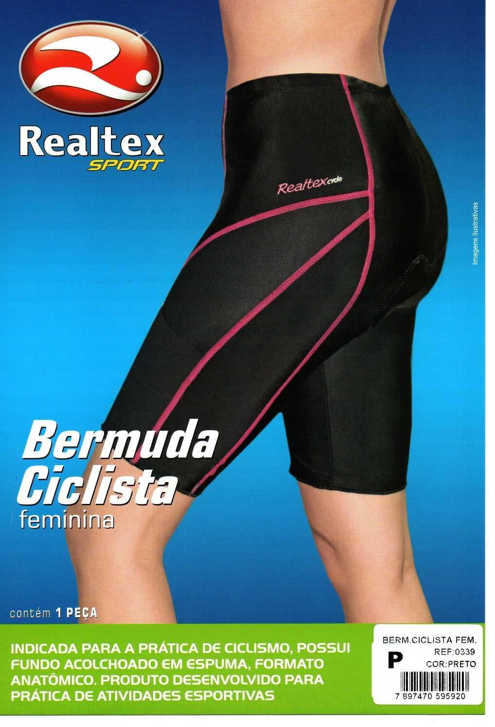 BERMUDA REALTEX 0339 FEMININA COM BASE ACOLCHOADA PARA CICLISMO BIKE
