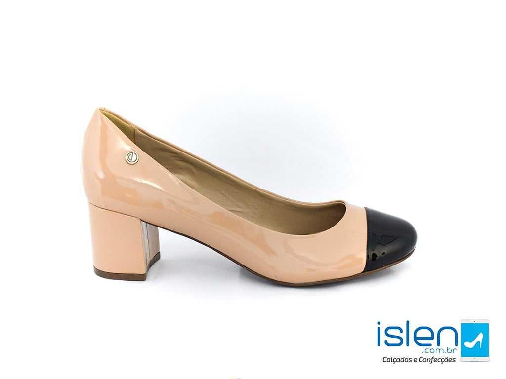 Sapato Dumond Soft 4113402 Verniz Nude/Preto