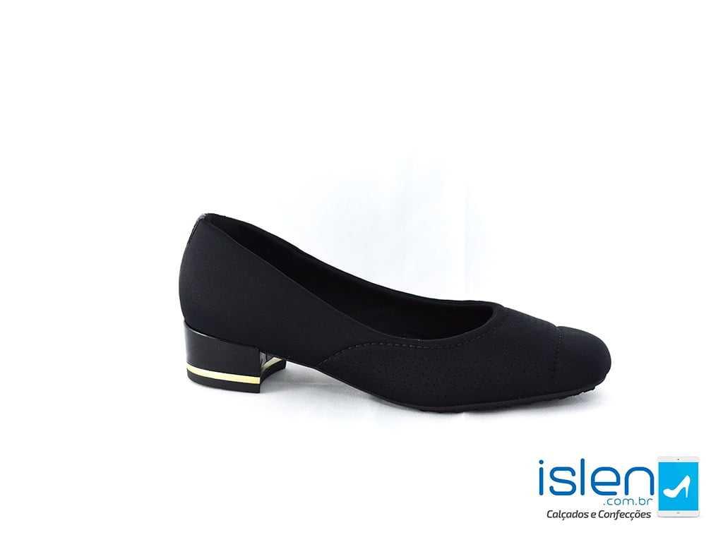 Sapato Usaflex 45105/61 Lycra Preto/Dourado