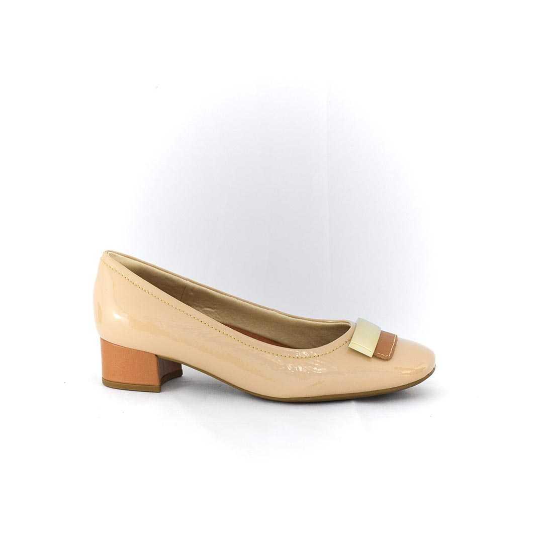 Sapato Usaflex AA2702 Verniz Soft Nude Dual Care
