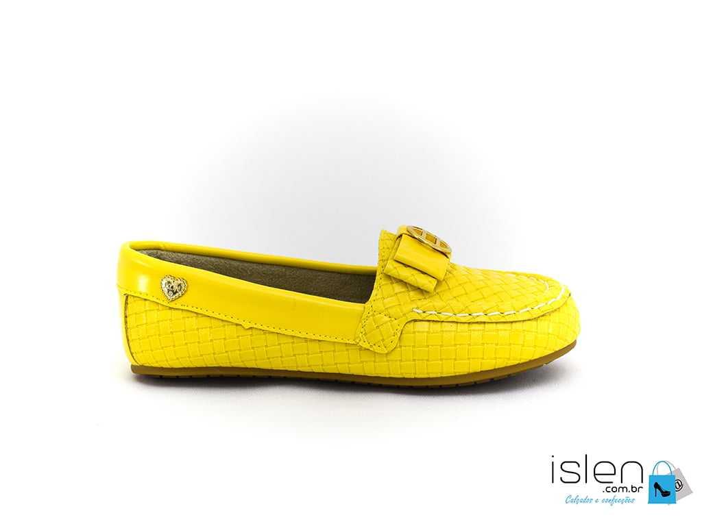 Sapatilha Klin Mocassim Amarelo/Dourado