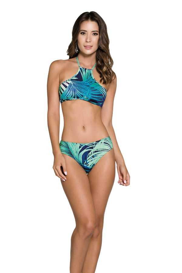 Biquíni Rosa Tatuada 6015 Cropped Estampado Verde/Azul