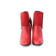 Bota Verofatto 6010003 VFFERNANDA Couro Atanado Tricot Vermelho 18