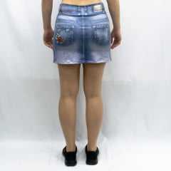 Saia Short Rola Moça Fake Jeans 18151 Azul