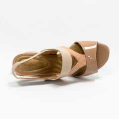 Sandália ComfortFlex 1952405 Verniz Pele Snake Nude