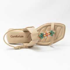 Sandália ComfortFlex 21-40404 Rasteirinha com Pedrarias