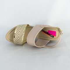 Sandália Moleca 5292.730 Napa com detalhe metalizado Bege/Ouro