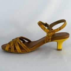 Sandália Usaflex AC4809 Couro Snake Amarelo Queimado