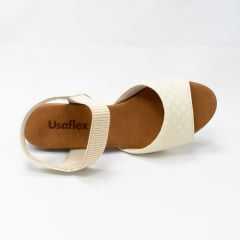 Sandália Usaflex AD0805 Couro legítimo com elástico Canelado