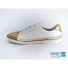 Tênis Usaflex Y6709/50 Craquele Branco/Dourado