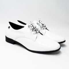 Sapato Oxford Bottero 315105_5 Show Verniz Branco/Preto