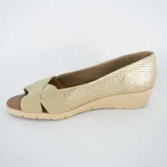 Sapato Usaflex AB6307 Elastico Dourado