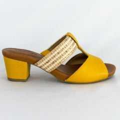 Tamanco Usaflex AC0501 Aramado com Elástico Amarelo