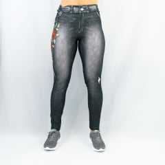 Legging Rola Moça Fake Jeans Flower 06260 Estampada Preta