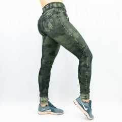 Legging Rola Moça Supplex Fake Jeans 06260 Verde Militar