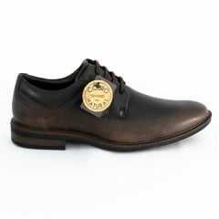 Sapato Ferracini 4446-574H Casual com Cadarço Couro Legítimo Linha 24h Café