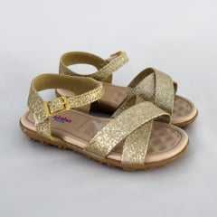 Sandália Molekinha 2121.101 Glitter Mini Shine Dourado
