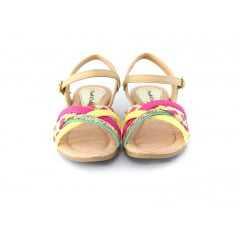 Sandália Pink Cats W9362A MultiColor Brilhosa Social Nude