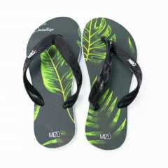 Chinelo Mizú Preto/Verde Tropical