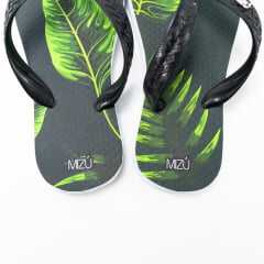 Chinelo Mizú Preto/Verde Tropical